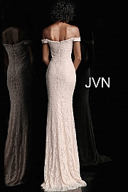 Bordeaux Off the Shoulder Fitted Lace Prom Dress JVN66695
