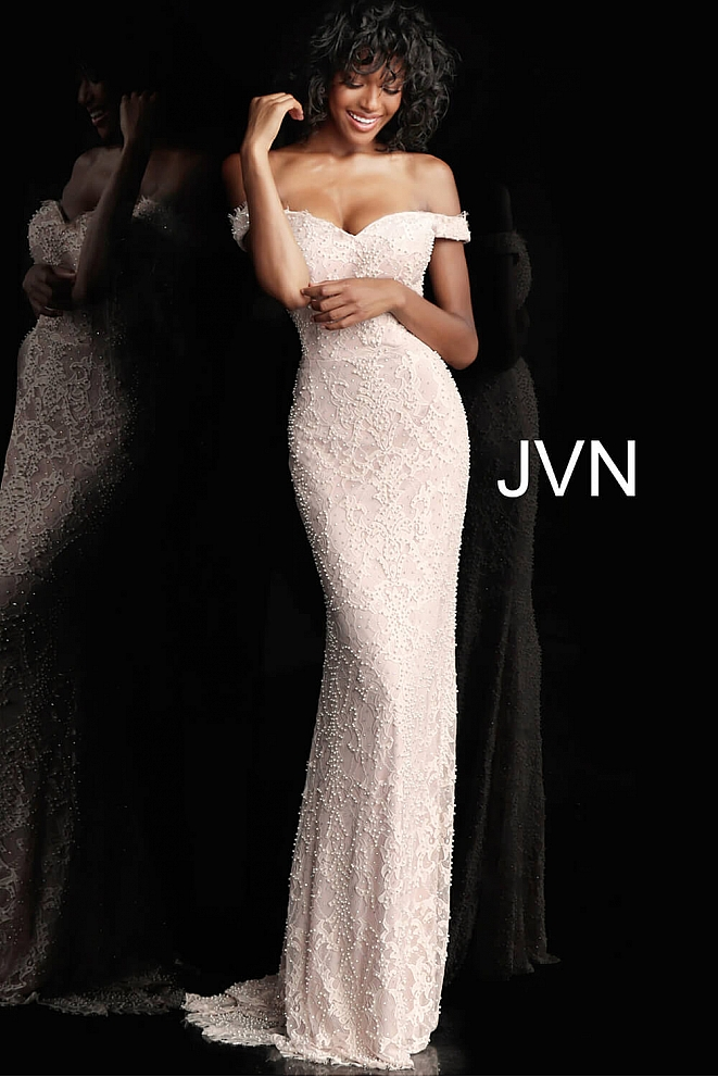 JVN66695 Fitted Lace off the Shoulder Bridesmaid Dress