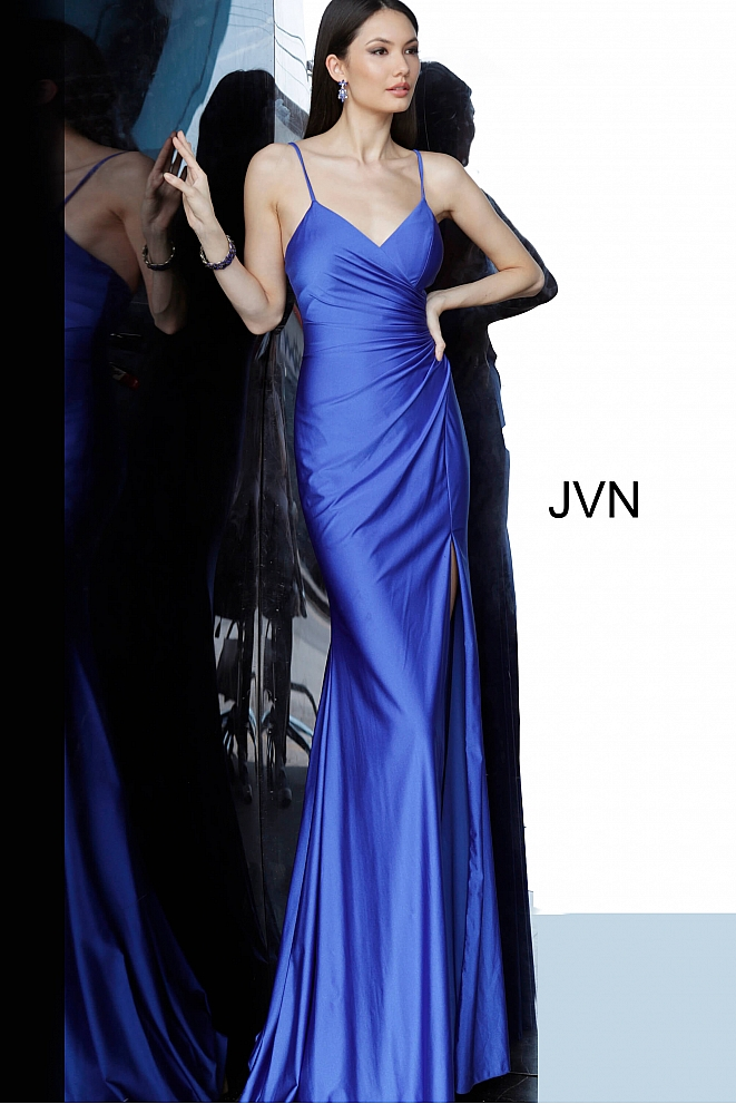 JVN66714 Royal Ruched Bodice Backless Prom Dress
