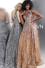 Jvn Sleeveless V Neck Embellished Prom Ballgown JVN66727