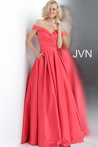 Cherry Off the Shoulder Pleated Skirt Prom Ballgown JVN66894