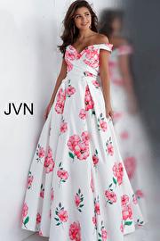 Jvn White Floral Print Off the Shoulder Pleated Bodice Prom Dress JVN66895
