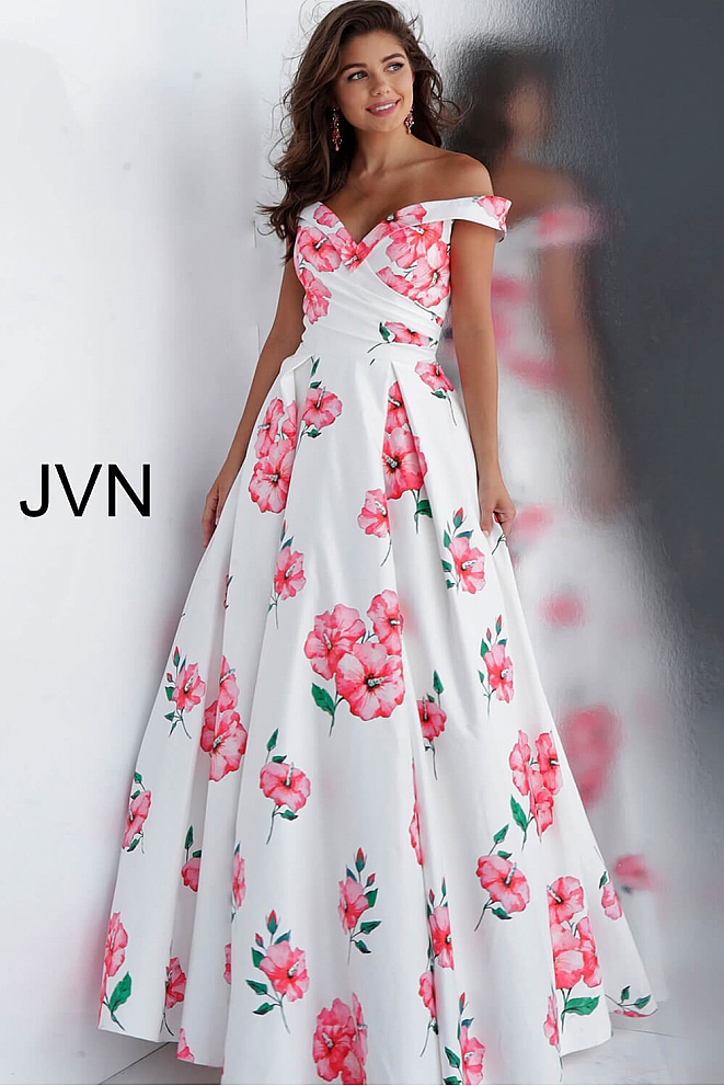 White Floral Print Off the Shoulder Pleated Bodice Prom Dress JVN66895