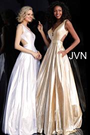 Metallic Sleeveless Side Cut Outs Prom Dress JVN66900
