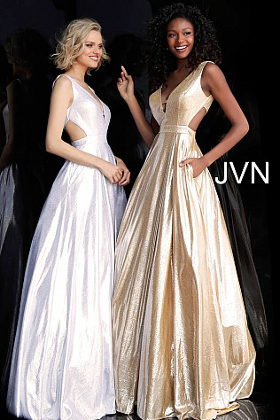 Metallic Sleeveless Side Cut Outs Prom Dress JVN66900