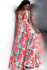 Jvn Tiffany Print Low V Neck Pleated Skirt Satin Prom Gown JVN66937