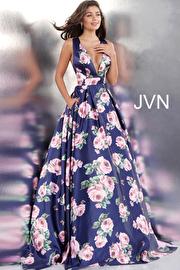 Jvn Navy Floral Print Low V Neck Pleated Skirt Prom Gown JVN66938