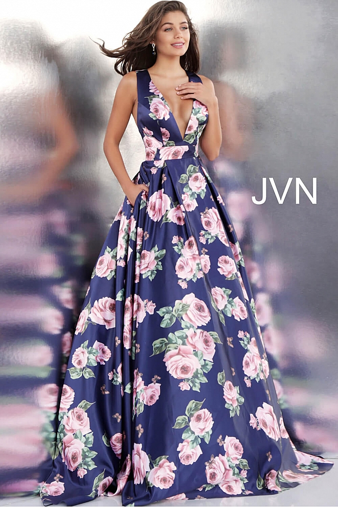 JVN66938 Navy Floral Print Low V Neck Pleated Skirt Prom Gown