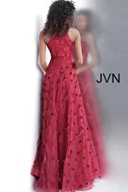Wine Embellished High Neck Sleeveless Prom Dress JVN66966