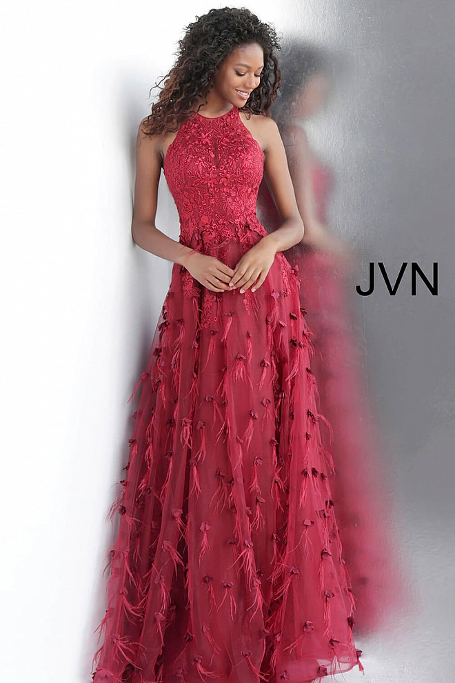 Wine Embellished High Neck Sleeveless Prom Dress JVN66966