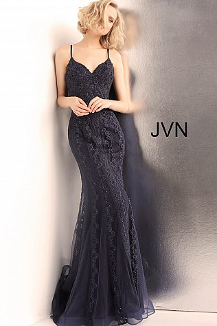Navy Spaghetti Straps V Neck Fitted Prom Dress JVN66969