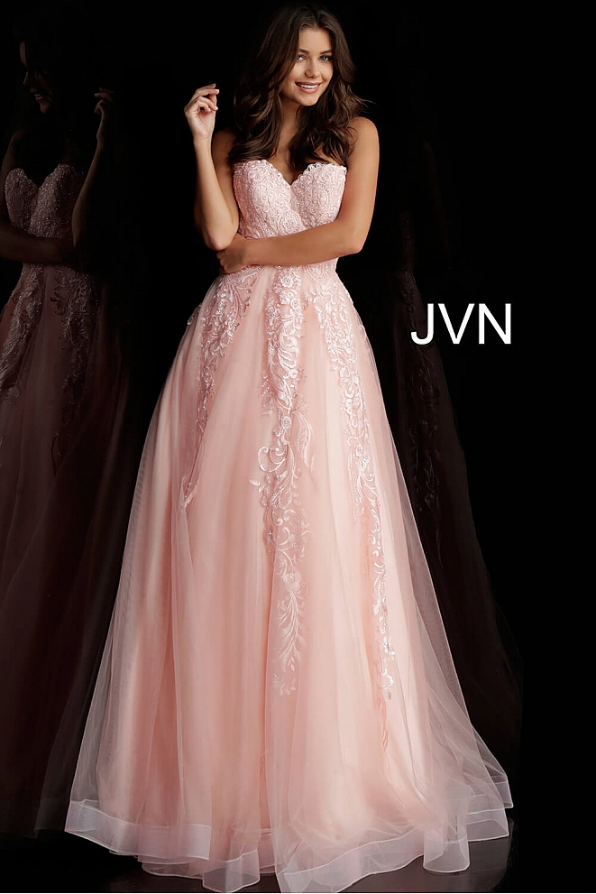 JVN66970 Blush Embroidered Strapless Prom Ballgown