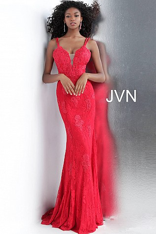 da81508ab2 Jvn Red Fitted Plunging Neckline Lace Prom Dress JVN66971