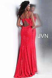 Red Fitted Plunging Neckline Lace Prom Dress JVN66971