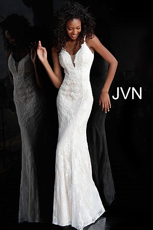 9b8a763f359f Jvn Ivory Fitted Lace Plunging Neckline Bridesmaid Dress JVN66971