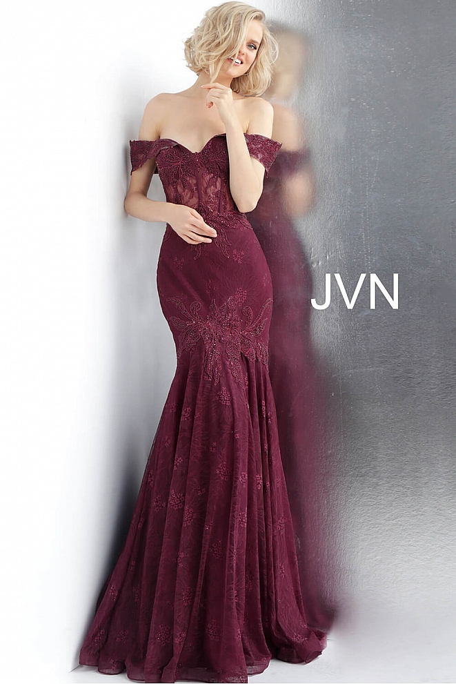 JVN66981 Bordeaux Off the Shoulder Sweetheart Neck Prom Dress