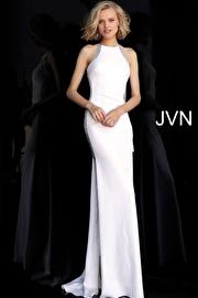 Jvn Off White Fitted Open Back Embellished Sides Prom Dress JVN67039
