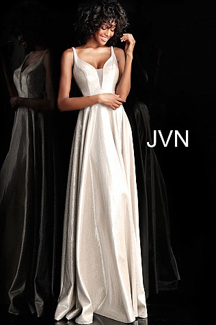 Silver Plunging Neckline Embellished Belt Prom Dress JVN67050