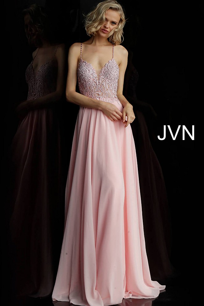 Blush Embroidered Bodice Criss Cross Back Prom Dress JVN67066
