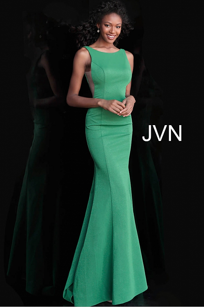 JVN67090 Jade High Neck Backless Fitted Prom Dress