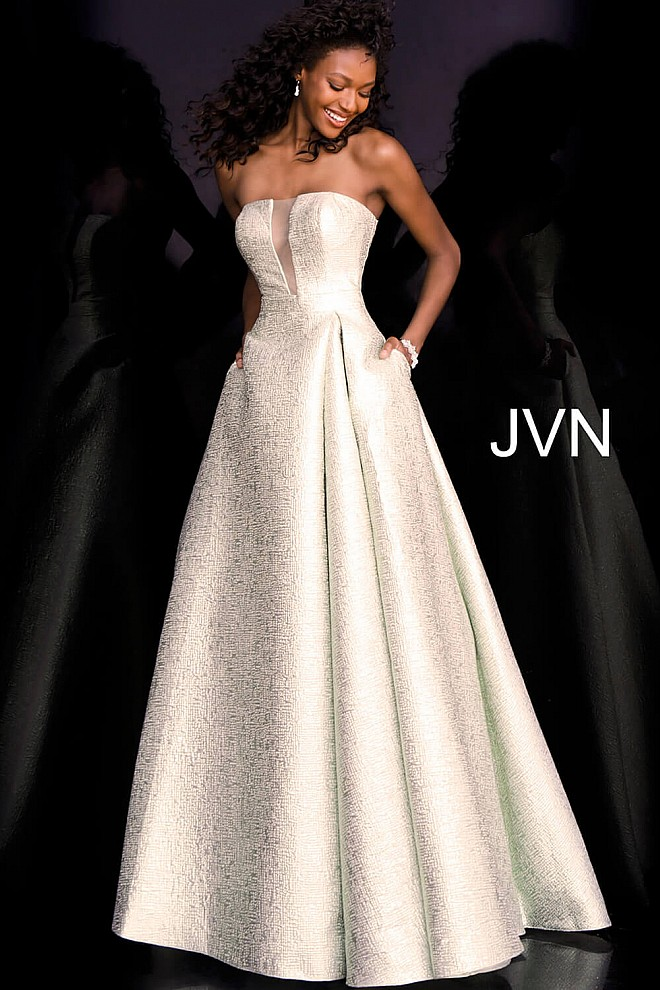 Green Strapless A Line Prom Gown JVN67091