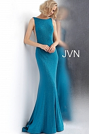 Jvn Peacock Fitted Backless Glitter Jersey Prom Dress JVN67094
