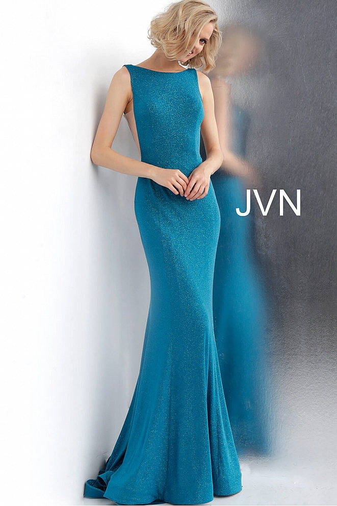 JVN67094 Blue Fitted Backless Glitter Jersey Dress
