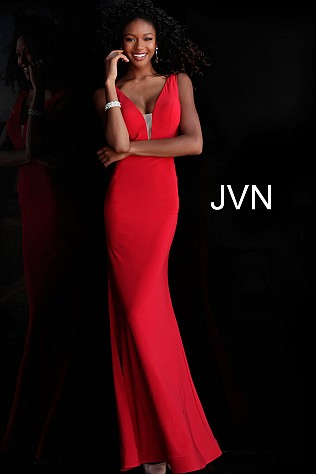 Red Plunging Neckline Fitted Jersey Prom Dress JVN67096