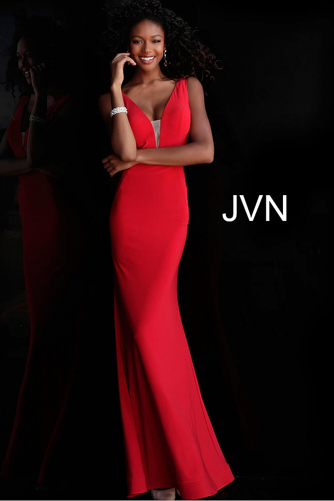 JVN67096 Dress | Red Fitted Jersey Prom Dress