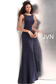 Jvn Black Fitted Jersey Sleeveless Prom Dress JVN67097