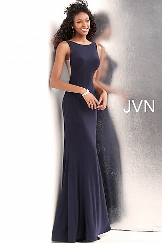 Black Fitted Jersey Sleeveless Prom Dress JVN67097