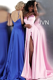 Plunging Neckline Pleated Skirt Satin Prom Gown JVN67098