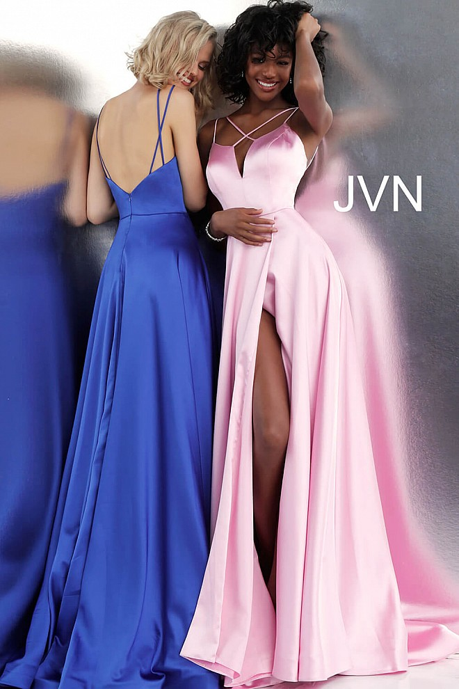 Plunging Neckline Pleated Skirt Satin Prom Gown JVN67098