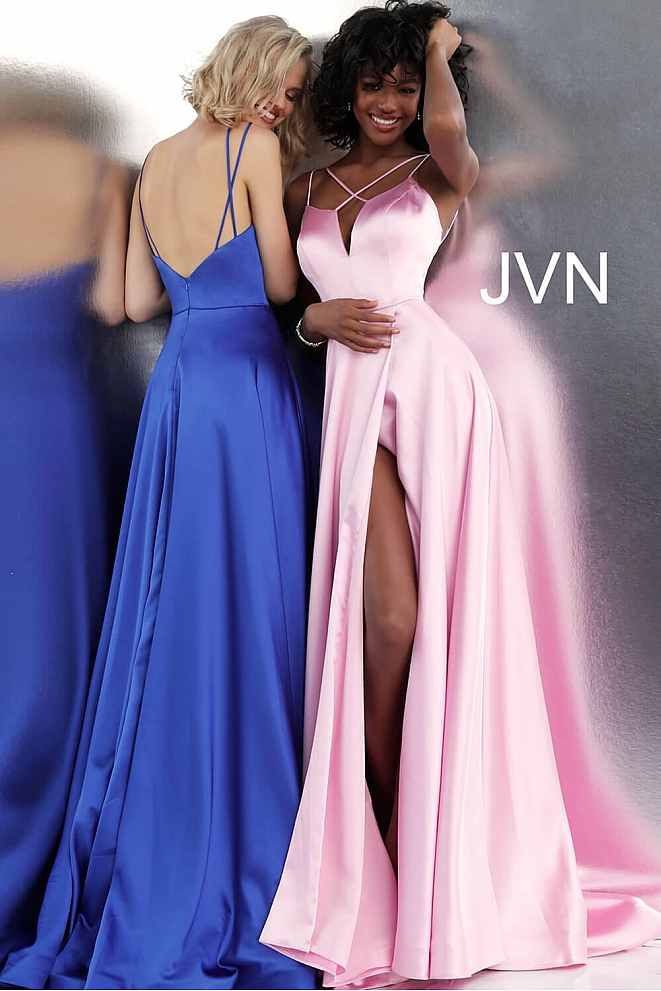 JVN67098 Plunging Neckline Pleated Skirt Satin Prom Gown