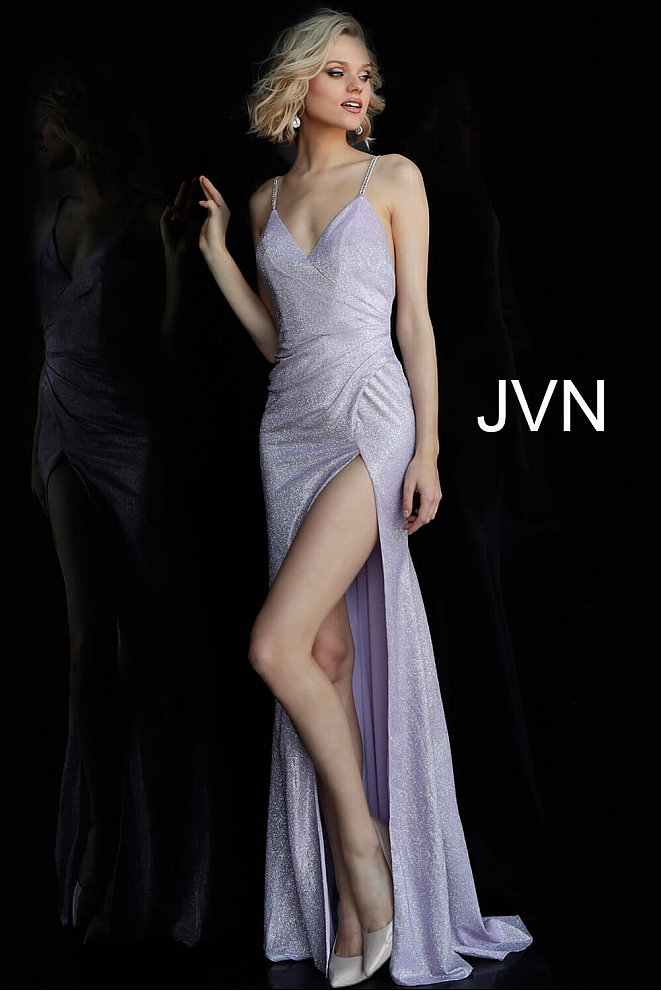 Lilac Metallic Glitter V Neck Bridesmaid Dress JVN67102