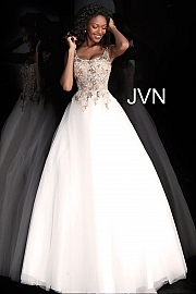 Off White Embroidered Bodice Sleeveless Prom Ballgown JVN67127