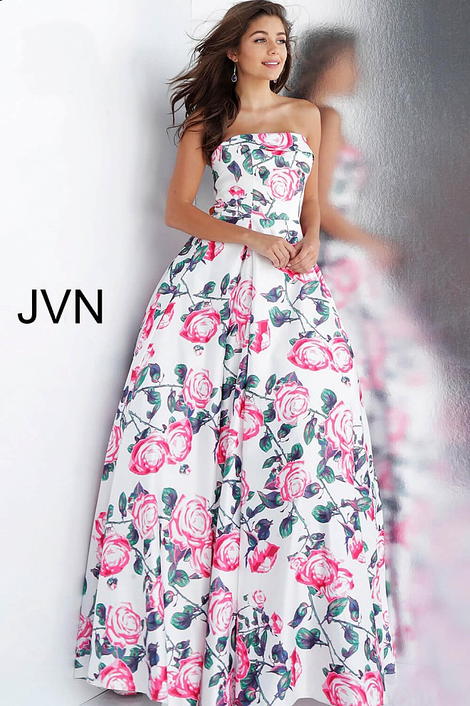 White Floral Print Strapless Pleated Skirt Prom Ballgown JVN67131