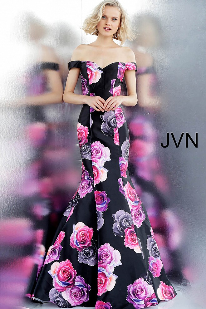 222f233a699 Jvn Black Floral Print Off the Shoulder Sweetheart Neck Prom Dress JVN67132