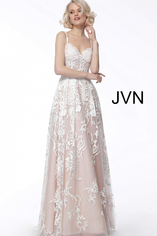 JVN67181 White Pink Spaghetti Straps Lace Prom Gown