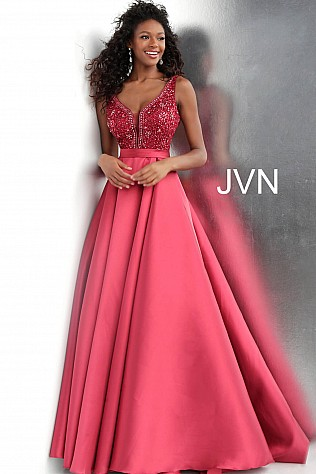 Burgundy Embellished Bodice Pleated Skirt Prom Gown JVN67198
