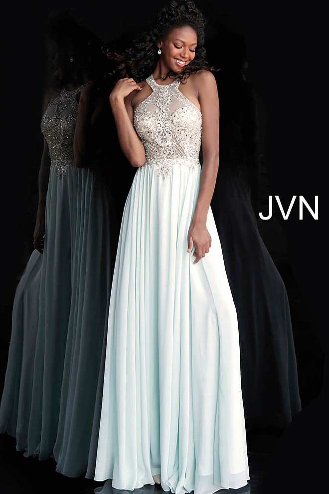 Mint Embellished Bodice Open Back Prom Dress JVN67245