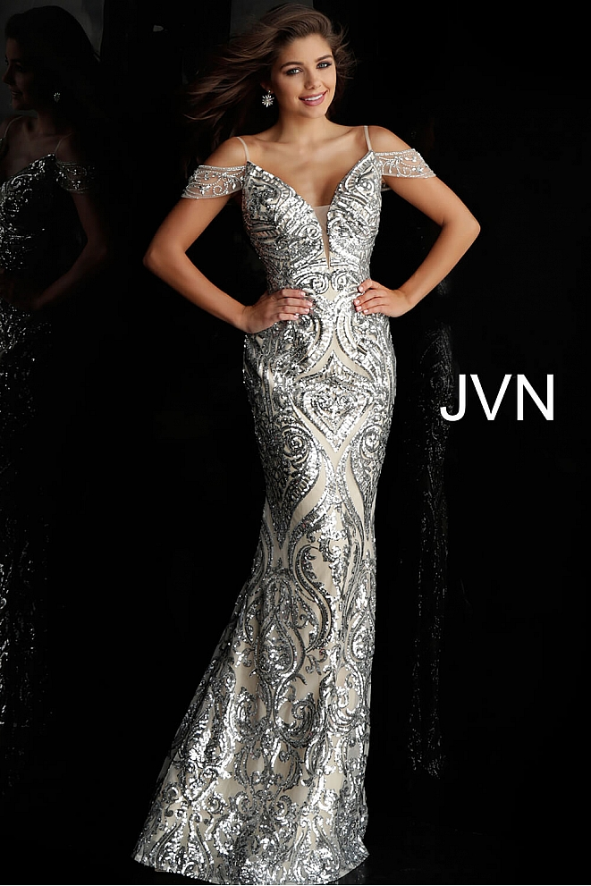 JVN67256 Silver Nude Off the Shoulder Plunging Neck Prom Dress