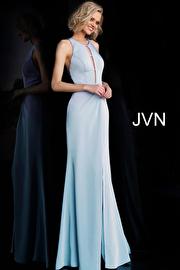Light Blue Criss Cross Back High Slit Prom Dress JVN67262
