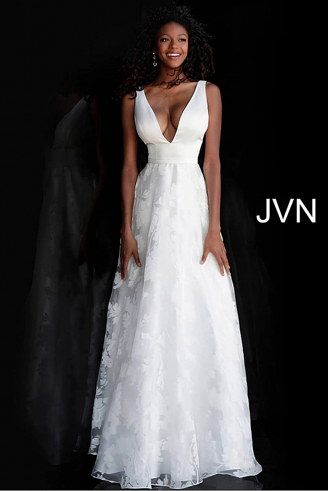 JVN67274 Off White Low V Neck A Line Prom Dress