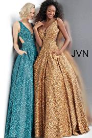 Jvn Animal Print Plunging Neckline Prom Ballgown with Pockets JVN67515