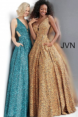 Animal Print Plunging Neckline Prom Ballgown with Pockets JVN67515