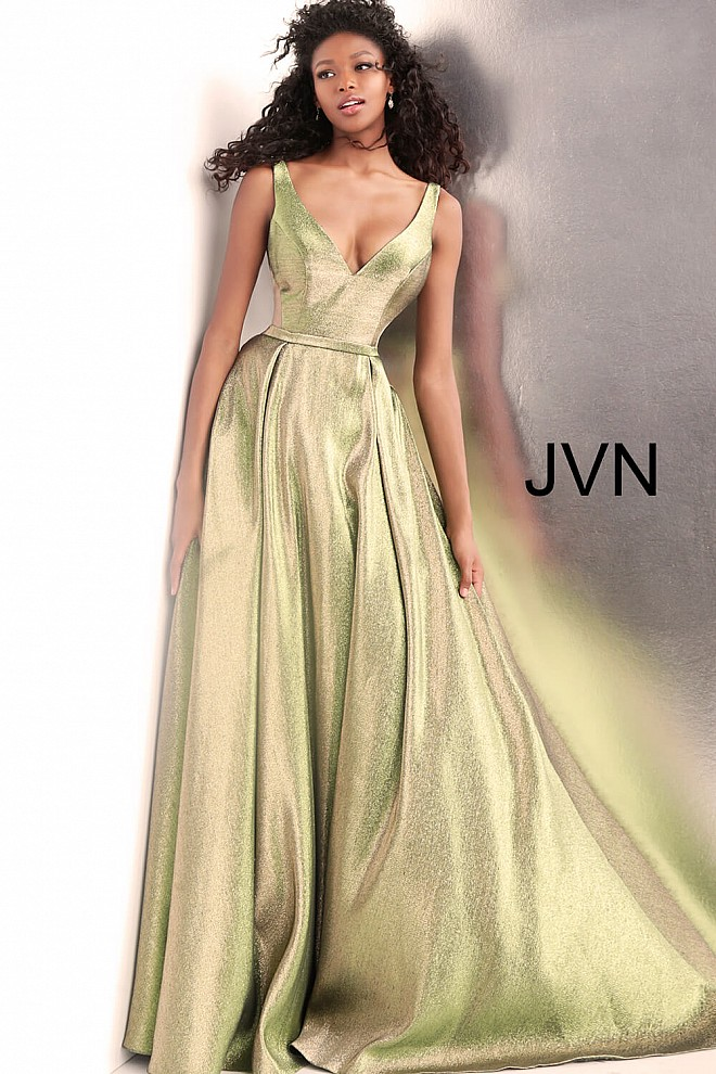 Green and Gold V Neck Bridesmaid Ballgown JVN67647