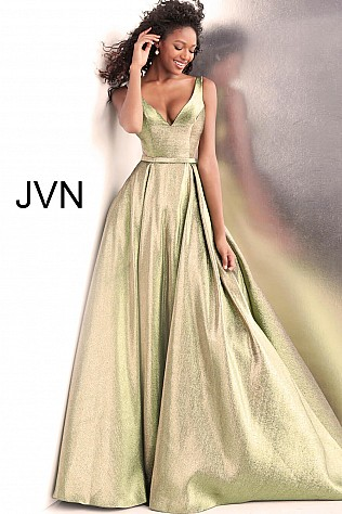 Green Gold V Neck Sleeveless Metallic Prom Ballgown JVN67647