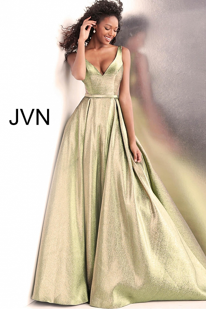 JVN67647 Green Gold V Neck Sleeveless Metallic Prom Ballgown