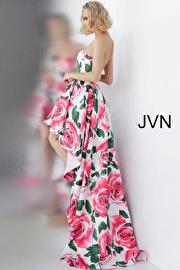 Floral Print Strapless High Low Prom Dress JVN67698